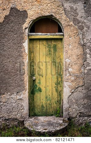 door of old abandoned irish cottage