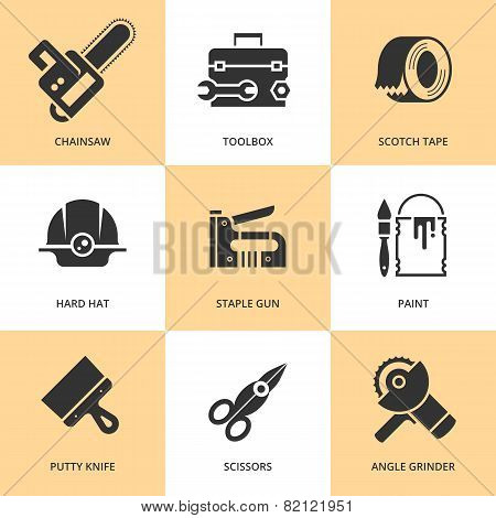 Trendy flat working tools icons black silhouettes