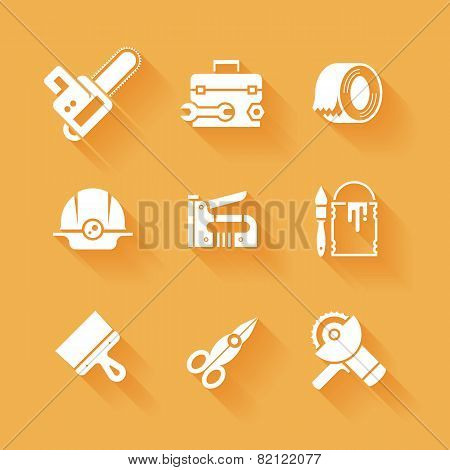 Trendy flat working tools icons white silhouettes