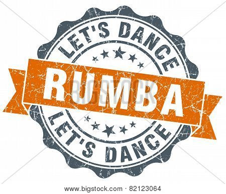 Rumba Vintage Orange Seal Isolated On White