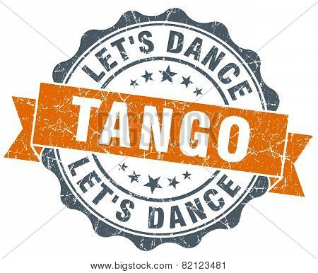 Tango Vintage Orange Seal Isolated On White