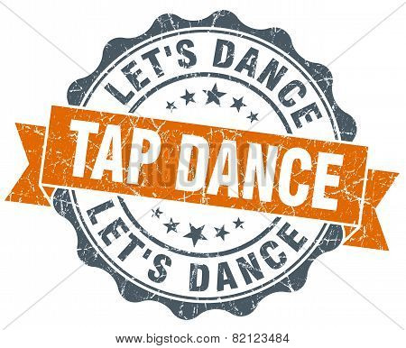 Tap Dance Vintage Orange Seal Isolated On White