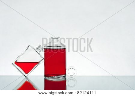 Vials with red liquid