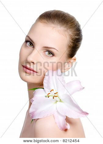 Beauty Of Woman With Lily
