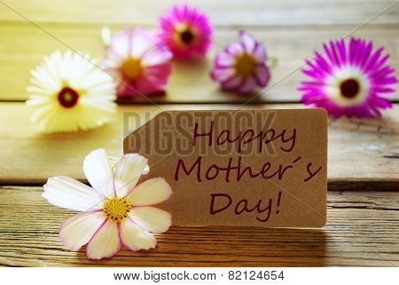Sunny Label With Text Happy Mothers Day With Cosmea Blossoms