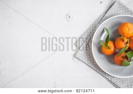 Tangerines On White Wooden Background. Free Space For Text