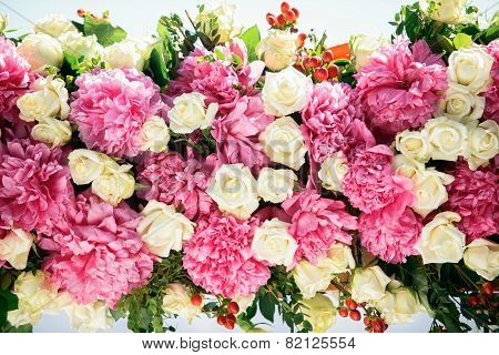 beautiful peonies and roses