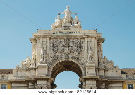 Detail of Rua Augusta Arch Lisbon Portugal