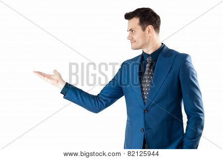 Business man presenting and showing something