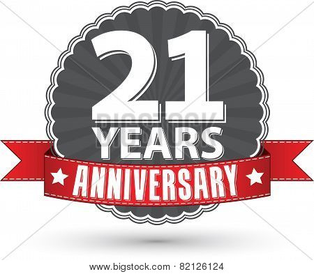 21 Years Anniversary Retro Label With Red Ribbon, Vector Illustration