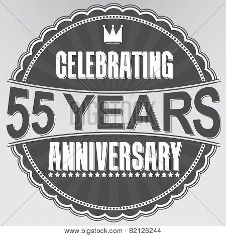 Celebrating 55 Years Anniversary Retro Label, Vector Illustration