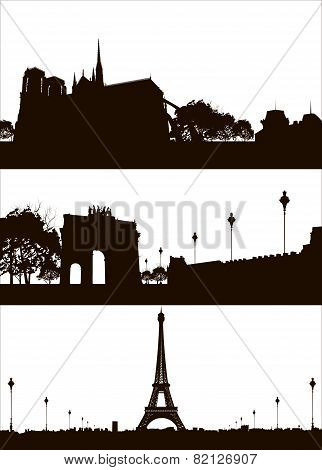 Set Of Paris City Skyline