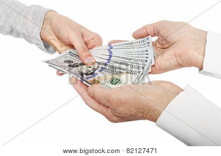 Hand giving money to other hands