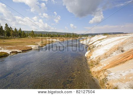 Wild River In Colorful Thermal Area