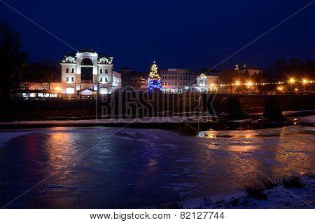 Night View Of Frozen Uzh River, Uzhgorod,winter Time, Zakarpattia,western Ukraine