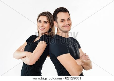 Portrait of happy couple isolated on white background. Attractive man and woman being playful