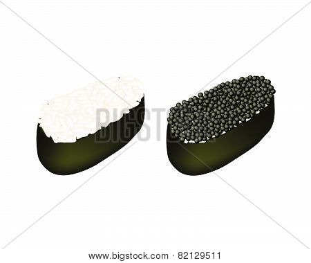 Rice Maki And Black Tobiko Roe Sushi