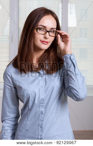 Girl In Formal Dress Takes Off His Glasses