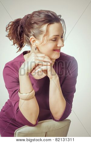 Girl In Formal Clothes Smiling With Arms Crossed