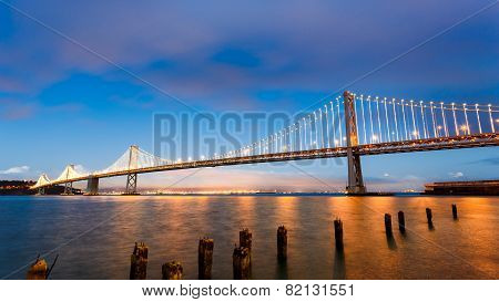 San Francisco-oakland Bay Bridge At Sunset
