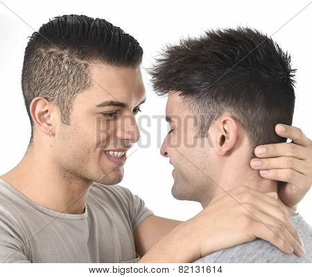 Gay Homosexual Couple Young Attractive Handsome Men In Love Kissing