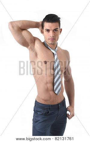 Young Attractive Gay Homosexual Man With Tie And Strong Naked Torso Showing Muscular Body Six Pack A