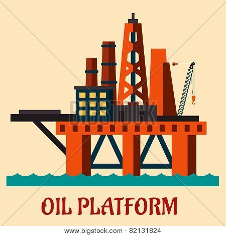 Cartoon sea oil platform