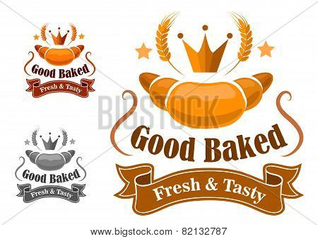 Bakery label withfresh and tasty croissant
