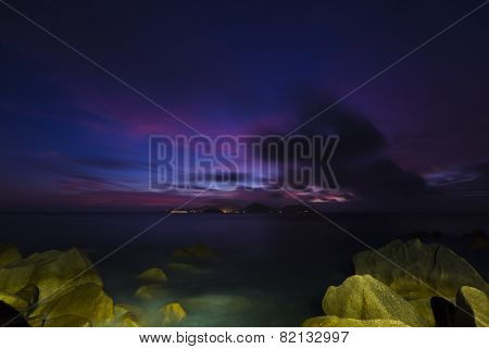 Rocky Coast Sunset, Seychelles