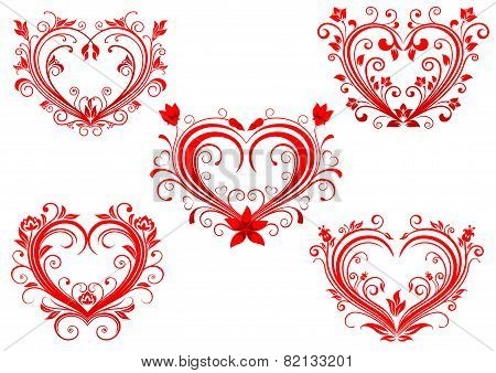 Elegant floral red valentine hearts set