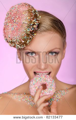 Beautiful Woman, Creative Hairstyle Bite Of Donut