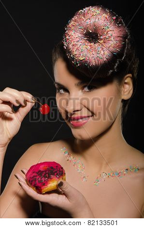 Beautiful Young Woman With Donut And Berries