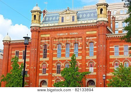 Franklin School Building in Washington DC USA.