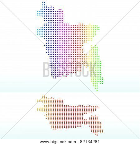 Map Of People's Republic Of Bangladesh With With Dot Pattern