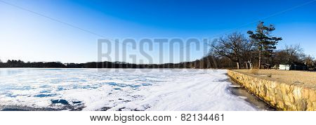 Frozen Pond And Retaining Wall