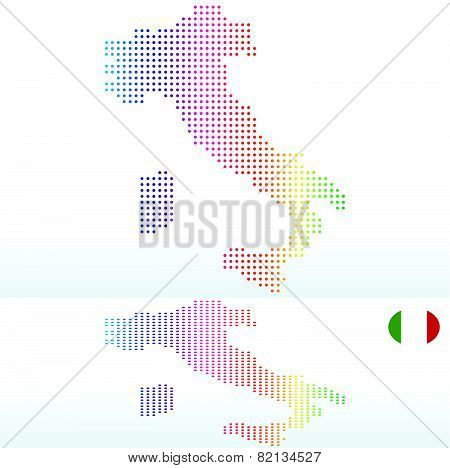 Map Of Italian Republic, Italy With With Dot Pattern