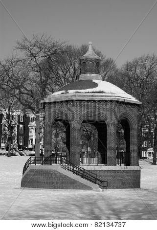 Snow Cover Bandstand In Black & White