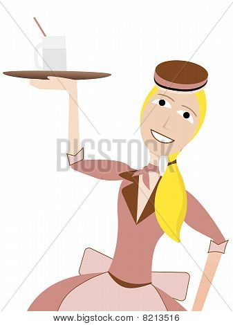 Waitress in retro uniform carrying drink on tray