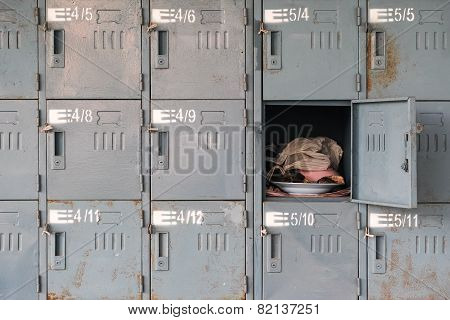 Old Rusty Lockers With One Opened