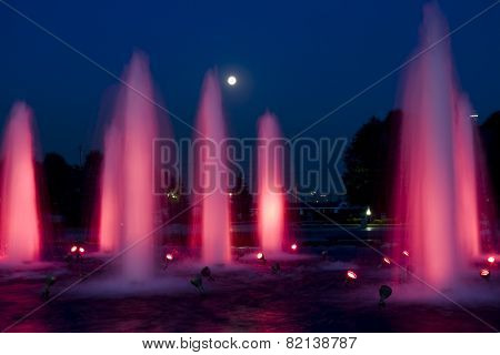 Moscow, Fountains At Night