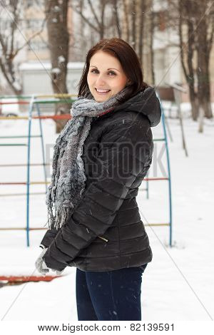 Smiling Woman Pleasure To Snow