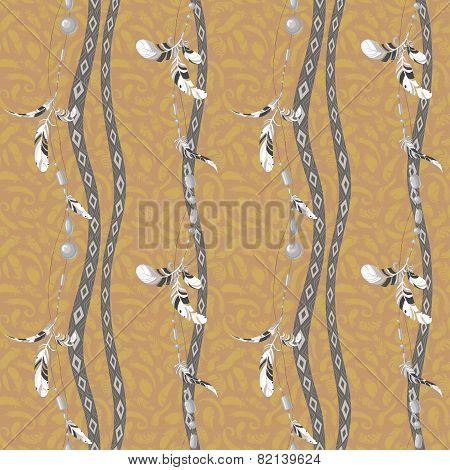Ethnic feathers and beads seamless vector background