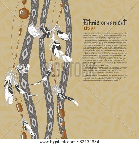 Ethnic feathers and beads vector background