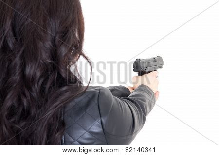 Back View Of Woman Holding Gun Isolated On White