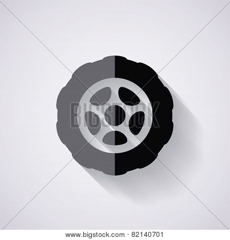 Vector Flat Icon Of Car Tire