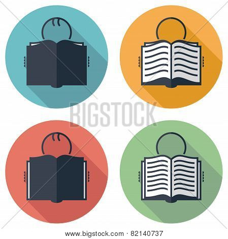 Vector Flat Icons Or Symbols Of Student Reading A Book