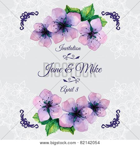 Watercolor elegant wedding invitation with japanese sakura