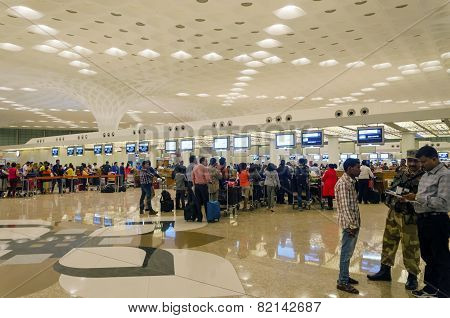 Mumbai, India - January 5, 2015: Passenger In Chhatrapati Shivaji International Airport.