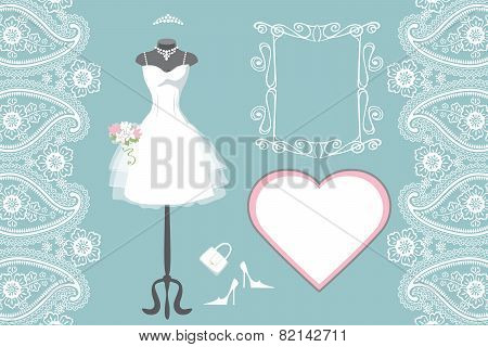 Wedding bridal dress with frame,label,paisley border