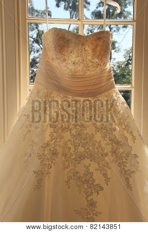 Gorgeous detail of hand sewn wedding dress